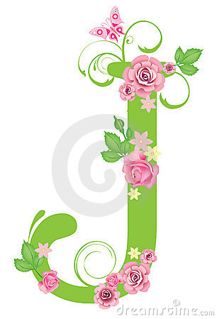 Letter J with roses