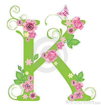 K Letter In Rose Letter K With Roses Stock Images - Image: 7967414