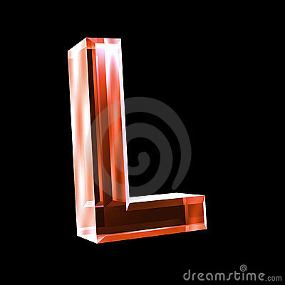 Letter L In Red Glass ...Y Logo 3d