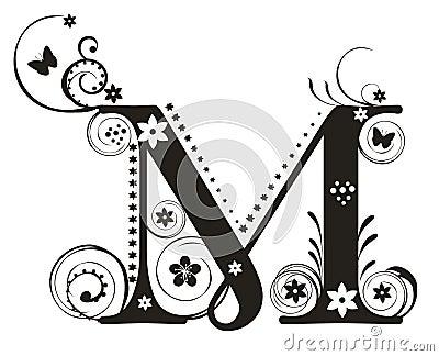 decorative letter m cursive decorative letter with flowers for