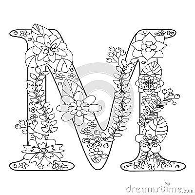 Kleurplaten Love Paarden Letter M Coloring Book For Adults Vector Stock Vector
