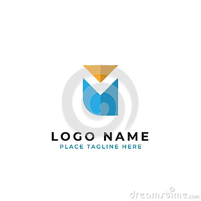 Letter m initial logo template. negative space initial m with simple owl bird shape vector design Stock Photo