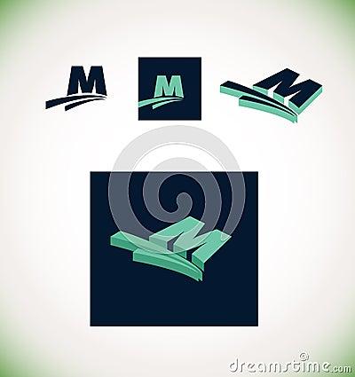 letter m logo set green stock vector image 62666724
