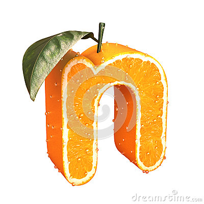 Letter made from orange Stock Photo