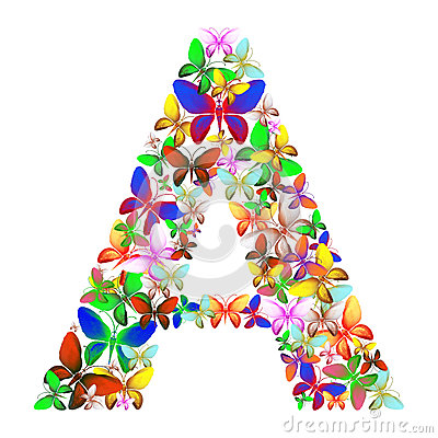 The letter A made up of lots of butterflies of different colors Stock Photo