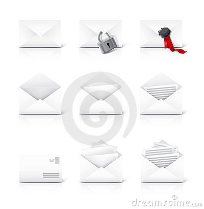Letter mail icons set