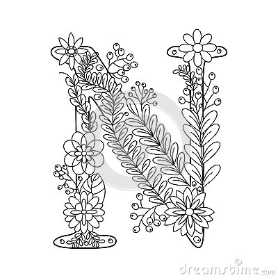 Letter N Coloring Pictures Book For Adults Vector Stock Image