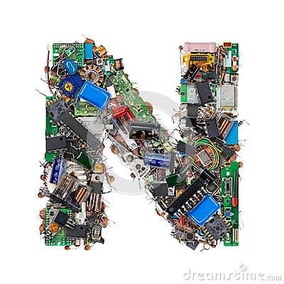 Free Letter N Made Of Electronic Components Stock Photography - 101165922