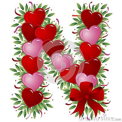 Free Letter N - Valentine Letter Royalty Free Stock Image - 4008916