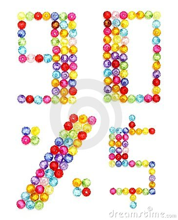 Letter numbers made of colorful beads
