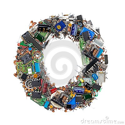Free Letter O Made Of Electronic Components Royalty Free Stock Photography - 101166137