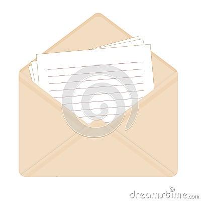 Letter in open beige envelope. Vector Illustration