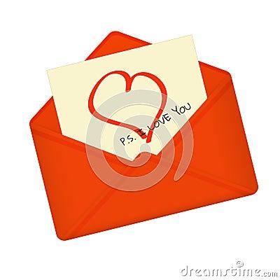 Letter in open red envelope. Vector Illustration