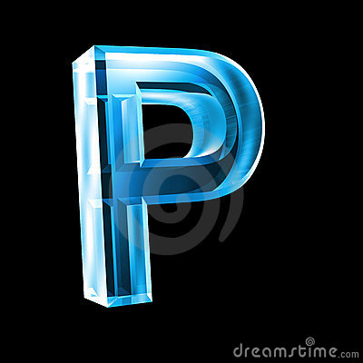 Letter P In Blue Glass 3d Royalty Free Stock Photos