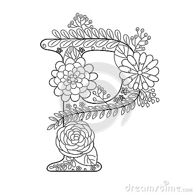 Letter P Coloring Book For Adults Vector Stock Vector