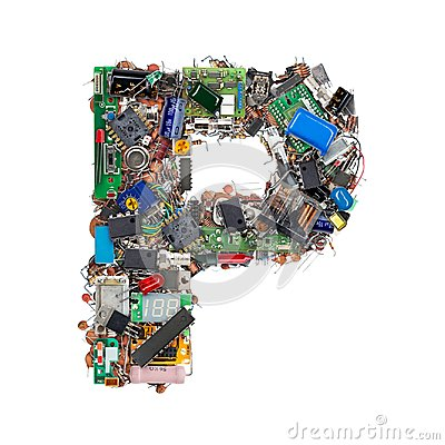 Free Letter P Made Of Electronic Components Royalty Free Stock Images - 101166359