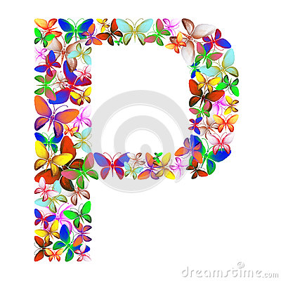 The letter P made up of lots of butterflies of different colors Stock Photo
