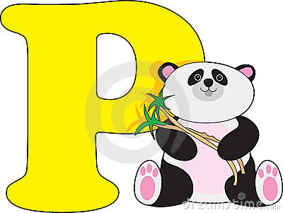 Letter P with a Panda
