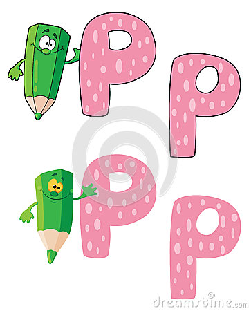 Letter P pencil green