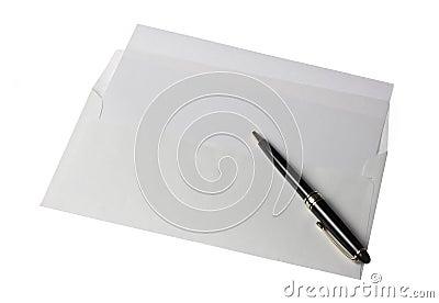 Letter Paper Open Envelope and Pen