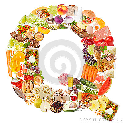 Letter Q made of food