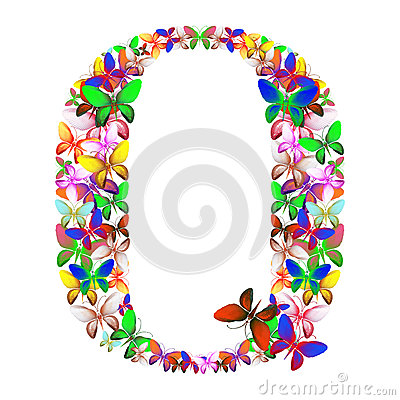 The letter Q made up of lots of butterflies of different colors Stock Photo