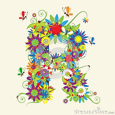 Letter R  floral...R Design Letter