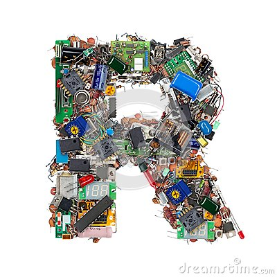 Free Letter R Made Of Electronic Components Royalty Free Stock Image - 101166156