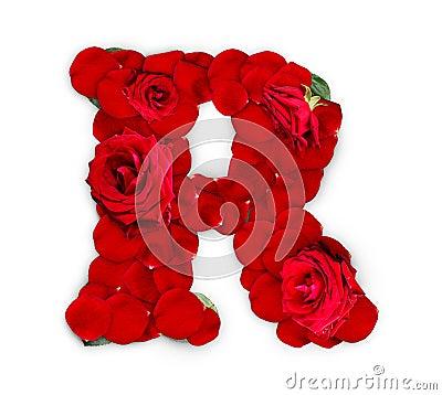 Letter R Made Red Petals Rose  R Letter In Rose