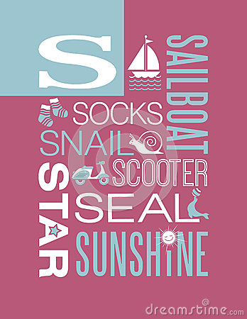 Free Letter S Words Typography Illustration Alphabet Poster Design Royalty Free Stock Photography - 46597427