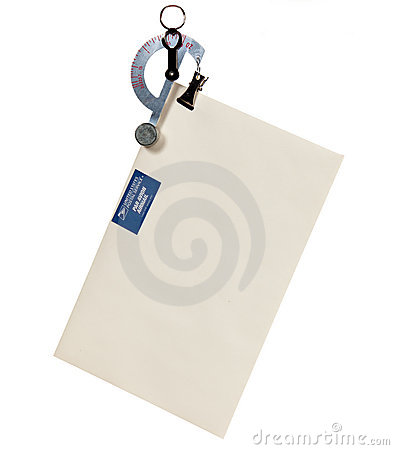 Letter scale weighing an envelope