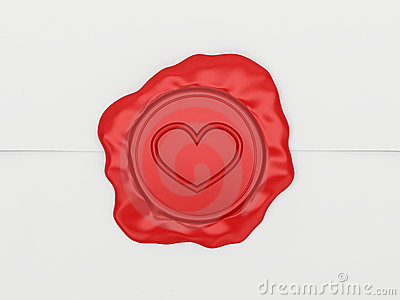 The letter sealed by a stamp with heart.
