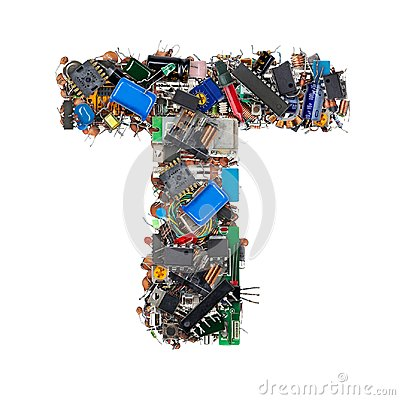Free Letter T Made Of Electronic Components Royalty Free Stock Image - 101165876