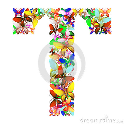 The letter T made up of lots of butterflies of different colors Stock Photo
