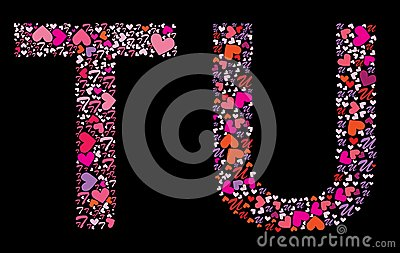 U Alphabet In Heart Letter T, U. Valentine alphabet set with heart. Vector font.