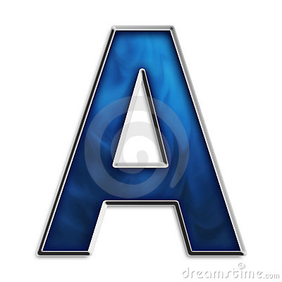 Letter A in tribal blue
