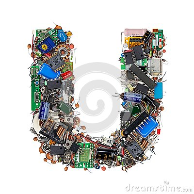 Free Letter U Made Of Electronic Components Royalty Free Stock Photos - 101166378