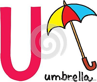 Letter U - umbrella