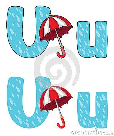 Letter U umbrella