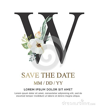 Free Letter W Hand Paint Watercolor Flower And Leaf For Wedding And Invite Cards. Royalty Free Stock Images - 125201349