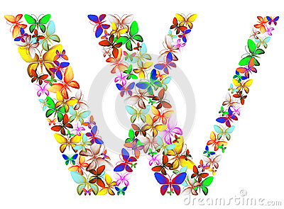 The letter W made up of lots of butterflies of different colors Stock Photo