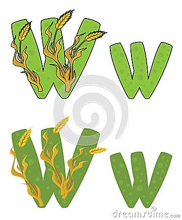 Letter W wheat