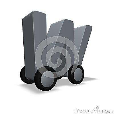 Letter w on wheels
