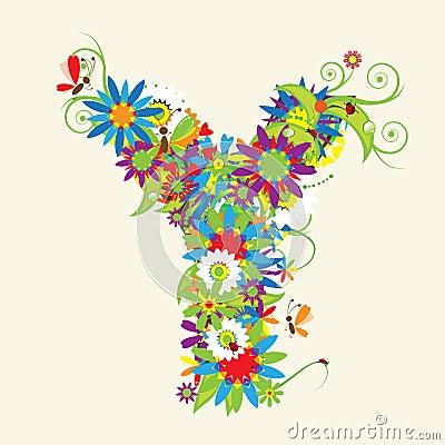 Letter Y, floral design