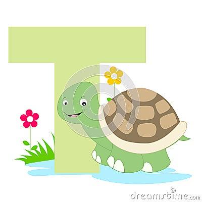 Lettera animale di alfabeto - T