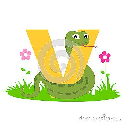 Lettera animale di alfabeto - V