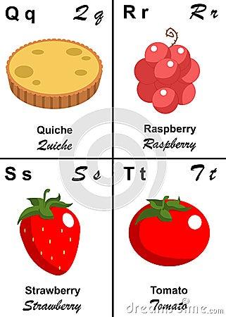 Lettera della tabella di alfabeto da Q a T