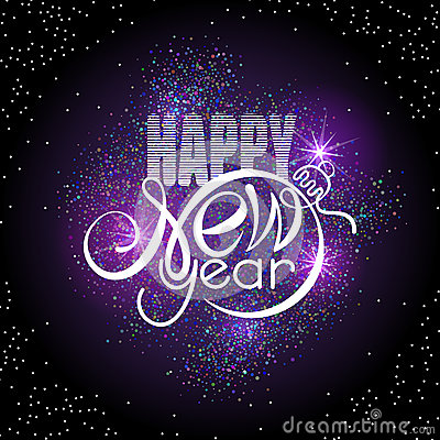 Free Lettering Happy New Year On Colorful Glowing Sparkles Background. Shape Of Text Same As Xmas Ball Royalty Free Stock Image - 78181476