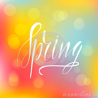Lettering inscription spring. Vector lettering Vector Illustration