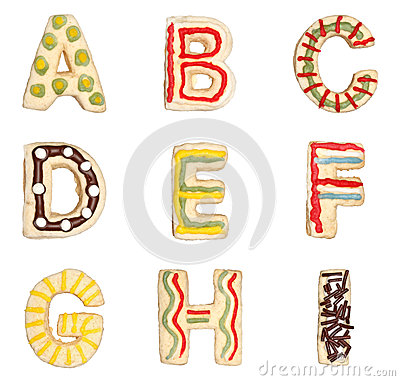 Free Letters A To I From Decorated Cookies Stock Images - 27216764